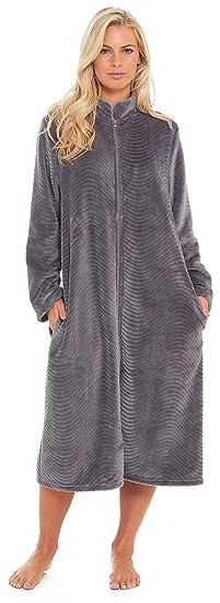 acf63c208f Slumber Hut® Ladies Fleece Zipped Dressing Gown Traditional Collar Long  Length Womens Housecoat - Grey