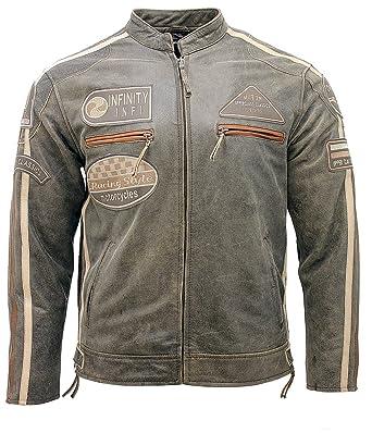 Mens Real Soft Racing Brown Nappa Leather Biker Jacket at ...