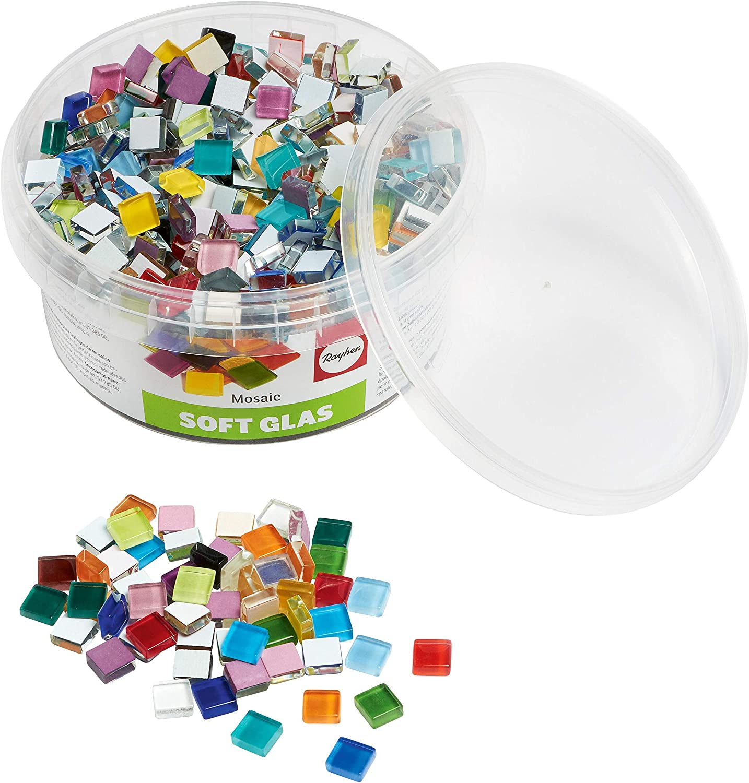 Rayher 14794999 Teselas de Cristal cuadradas, 1x1cm, Colores Variados, Pack 500 g Aproximadamente 525 Piezas, para mosaicos