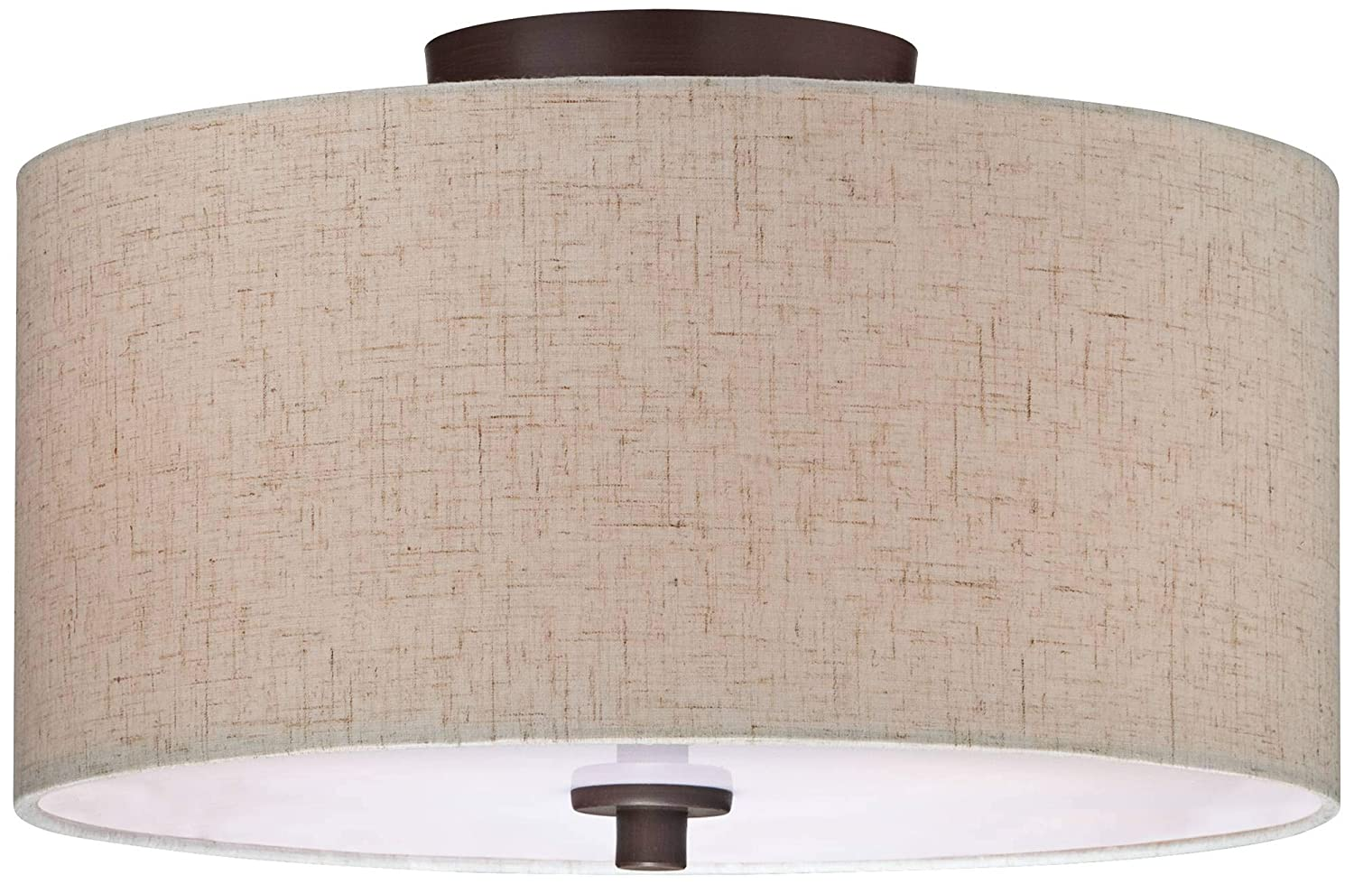 Sylvan 14 Wide Off-White Fabric Drum Ceiling Light – Regency Hill