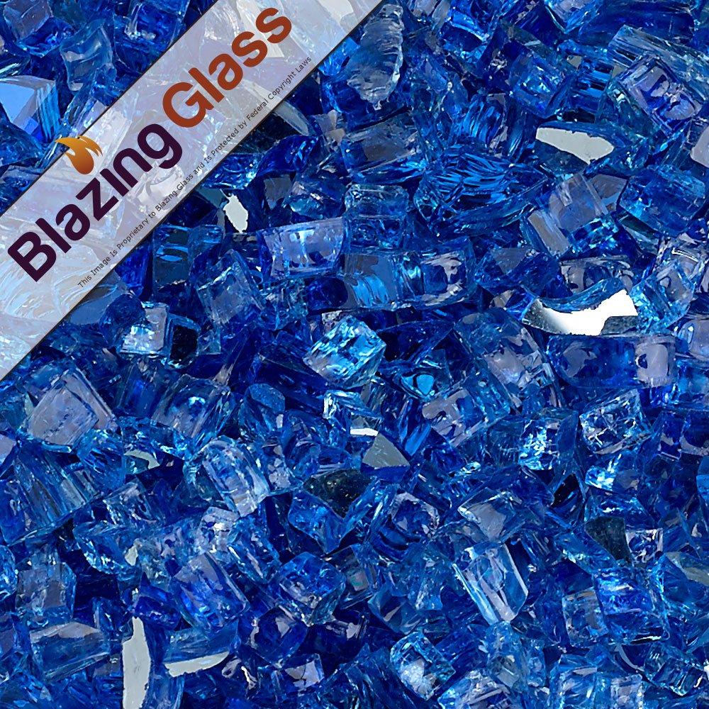 Blazing Fireglass 10-Pound Reflective Fire Glass with Fireplace Glass and Fire Pit Glass, 1/4-Inch, Cobalt Blue