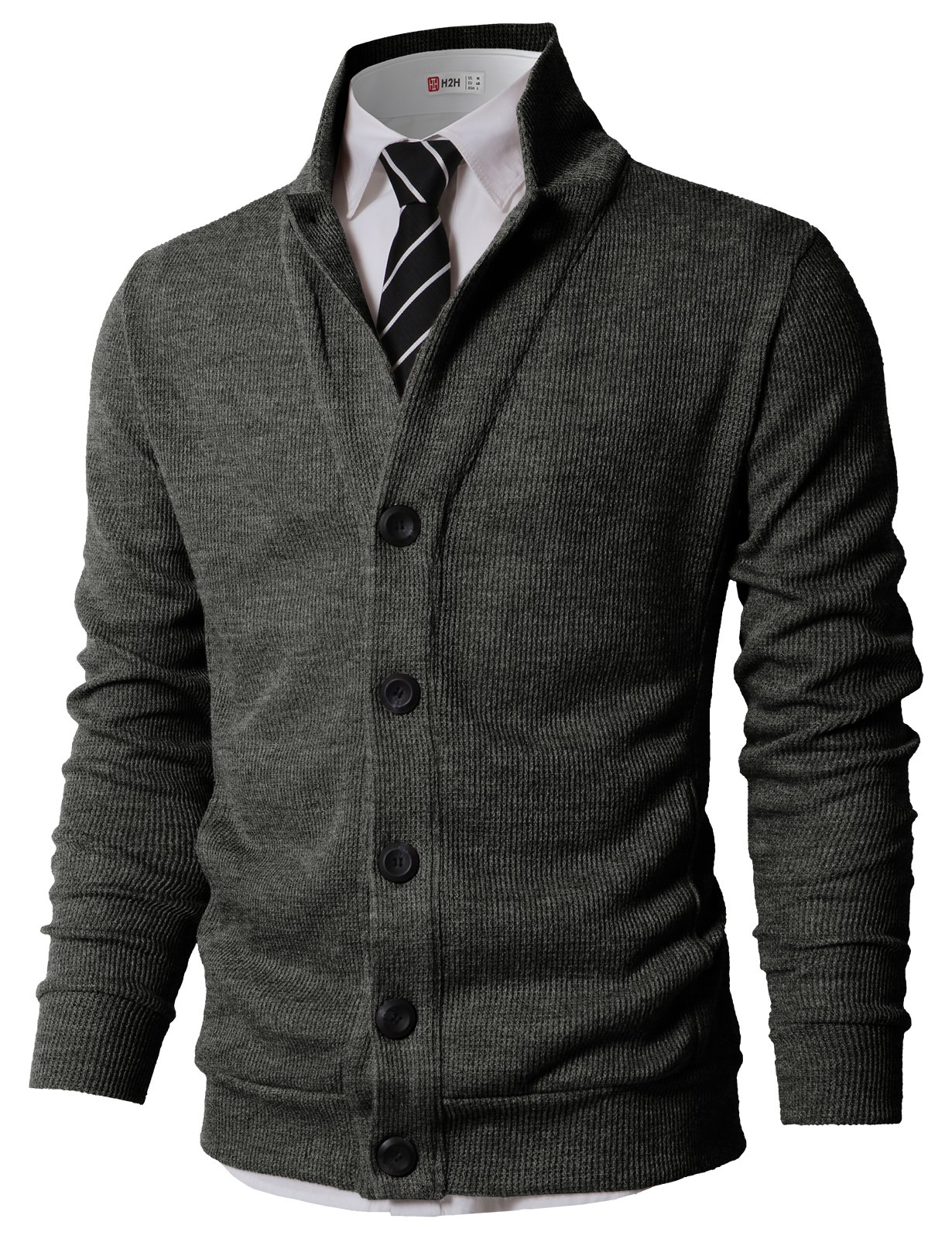 H2H Mens Slim Fit Basic Button up Shawl Collar Knit Cardigan Sweater Charcoal US M/Asia L (KMOCAL0182)