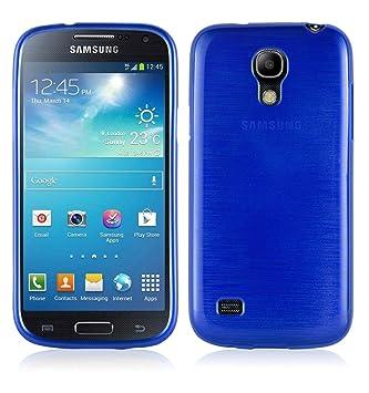 Cadorabo Funda para Samsung Galaxy S4 Mini en Azul - Cubierta Proteccíon de Silicona TPU Delgada e Flexible con Antichoque - Gel Case Cover Carcasa ...