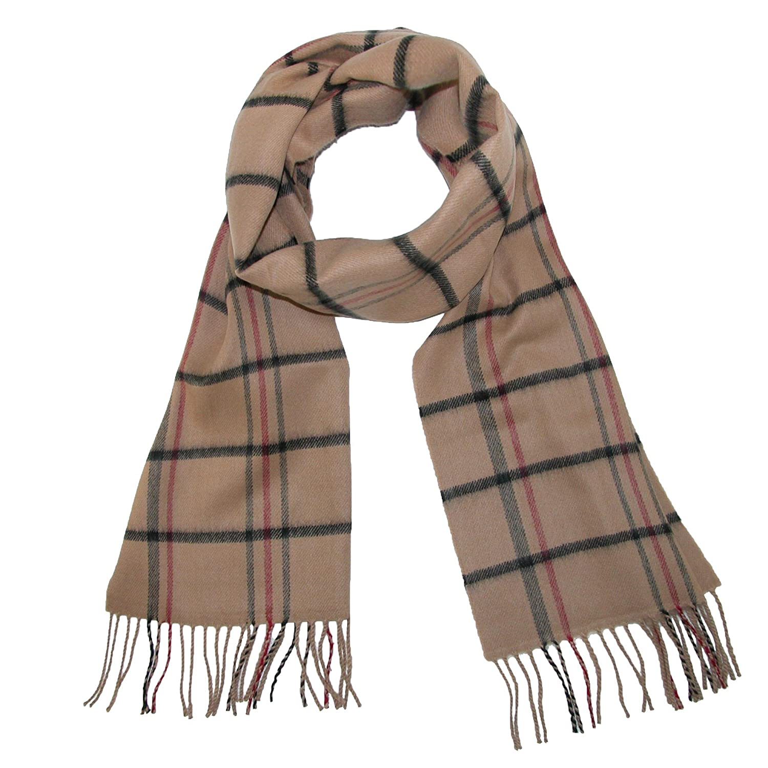David & Young Soft Plaid Winter Scarf, White