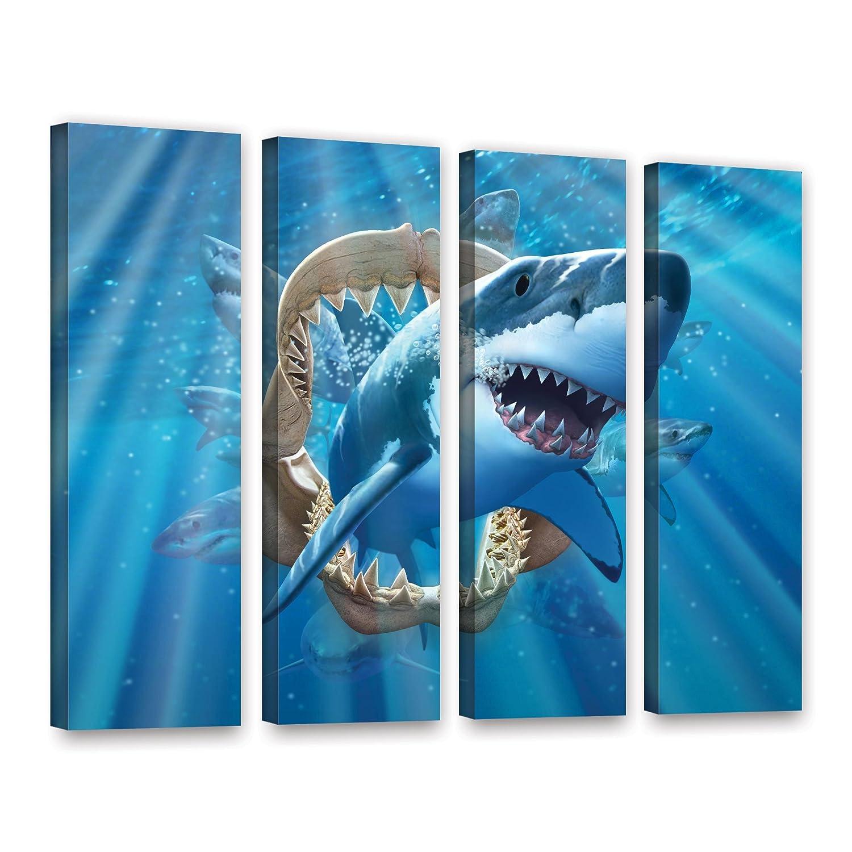 36 by 48 ArtWall ArtWall Jerry Lofaro Great White Shark 4 Piece Gallery-Wrapped Canvas Artwork