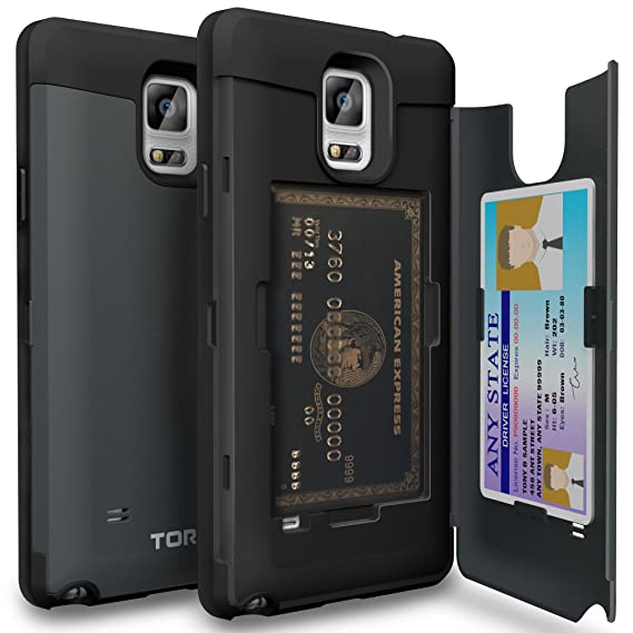 best service 38d34 7110d TORU CX PRO Note 4 Wallet Case Dark Blue with Hidden ID Slot Credit Card  Holder Hard Cover & Mirror for Samsung Galaxy Note 4 - Metal Slate