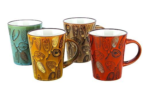 HI PLUS MG-1019 Set of 4 Multicolored Printed Milk, Coffee & Tea Mug