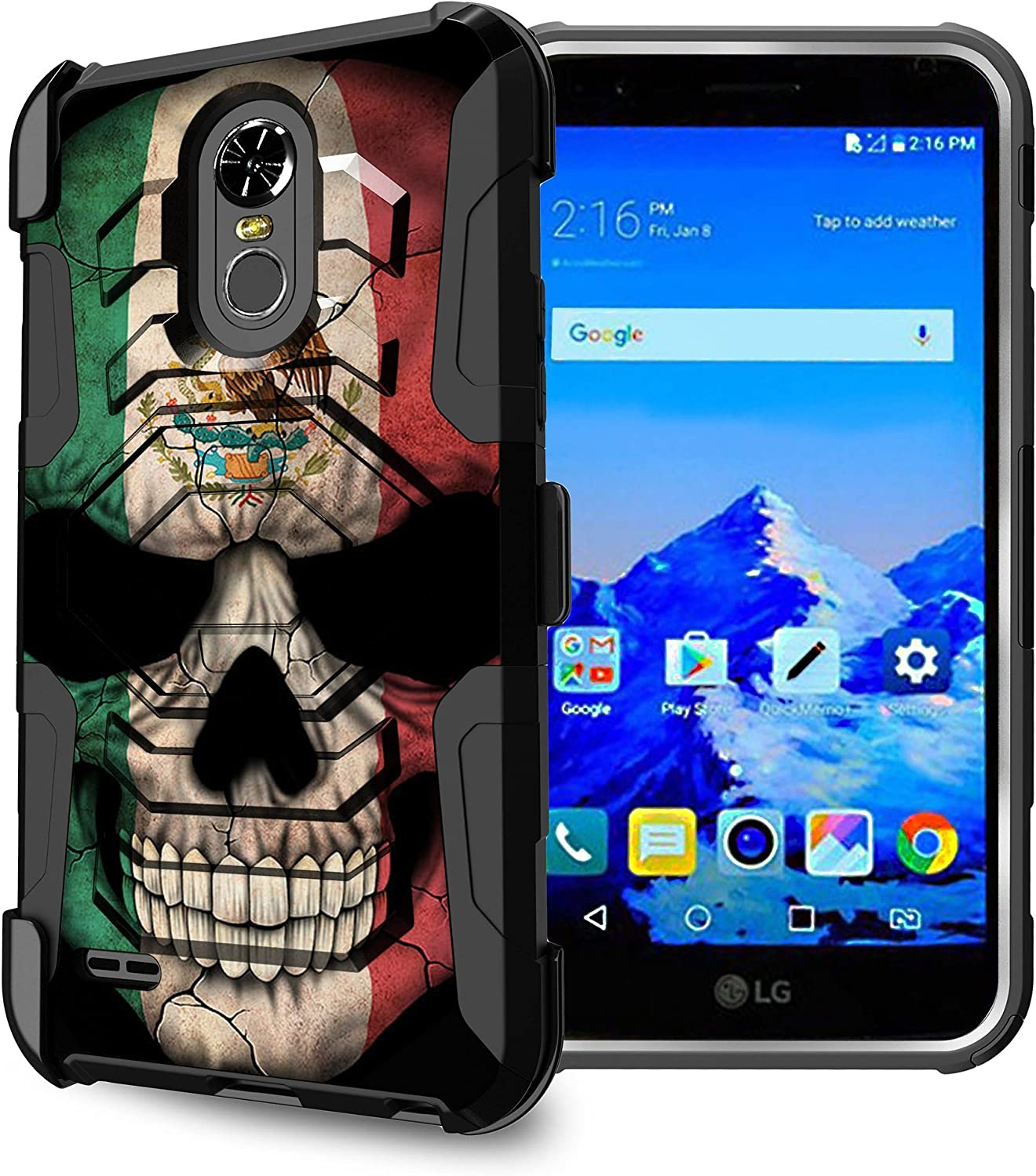 Untouchble Case for LG Stylo 3, LG Stylo 3 Plus Holster Case [Max Alpha Holster] Dual Layer Hybrid Belt Clip Kickstand Cover Protector Rugged - Mexico Skull Flag