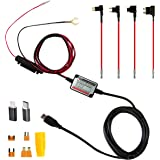 Micro USB Hardwire Kit with LP Mini/Mini/ATO/Micro2 Fuse Lightning & Type-C adapters 11ft Hard Wire 5V/2A Output for Dash Cameras GPS Cellphone Dash Cam NuCam DL Battery Drain Protection