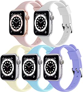 [5 Pack] Liuxixi Silicone Bands Compatible with Apple Watch Bands 38mm 40mm 42mm 44mm,Soft Slim Narrow Thin Sport Replacement Band Compatible with iWatch Series 6 5 4 3 2 1 SE for Women Men …