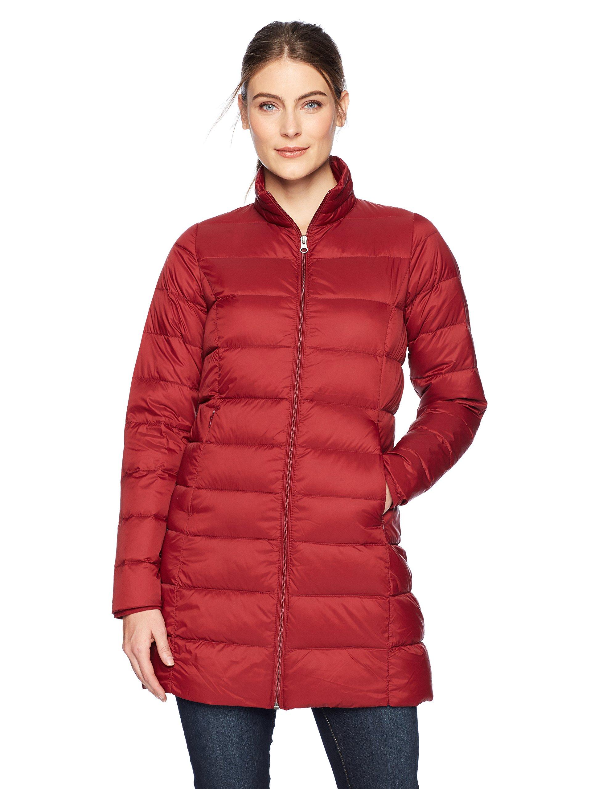Amazon Essentials Women's Lightweight Water-Resistant Packable Down Coat, Red Rust, Large