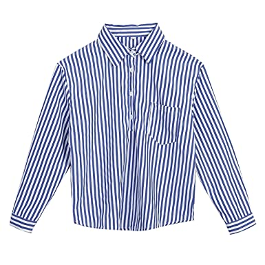 66dff08a8aff26 Women Blue-and-White Striped Casual Roll Up Long Sleeve Shirts V Neck  Blouses