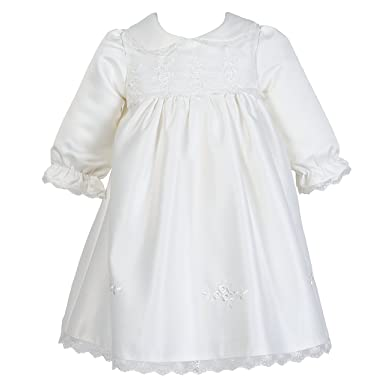 Nimble baby girl newborn christening long sleeves lace satin gown dress 0 9m