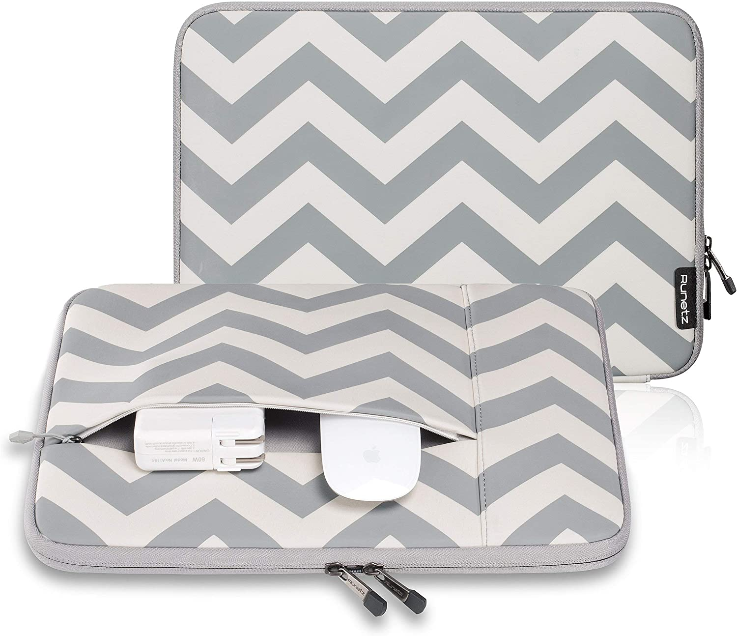 Runetz - MacBook Pro 13 inch Sleeve Neoprene Laptop Sleeve 13.3 inch MacBook Air 13 inch Sleeve Notebook Computer Bag Protective Case Cover with Accessory Pocket with Zipper - Chevron Grey