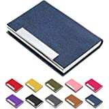 Business Card Holder, Business Card Case Luxury PU Leather & Stainless Steel Multi Card Case,Business Card Holder Wallet Credit Card ID Case/Holder for Men & Women. (Blue)