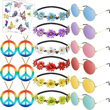 Amazon.com: Juego de 20 piezas de disfraz hippie, accesorios ...