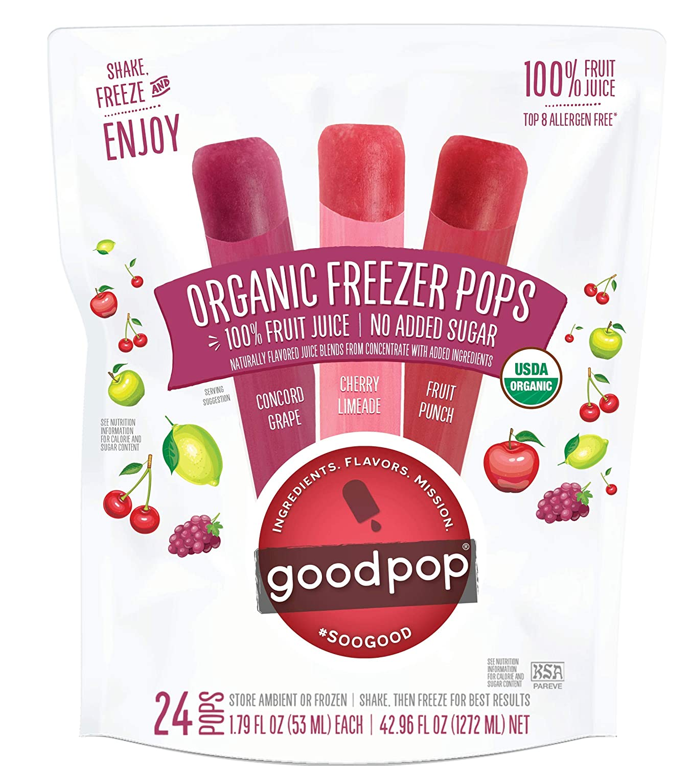 GoodPop Organic Freezer Pops - 100% Juice, No Added Sugar - 24ct