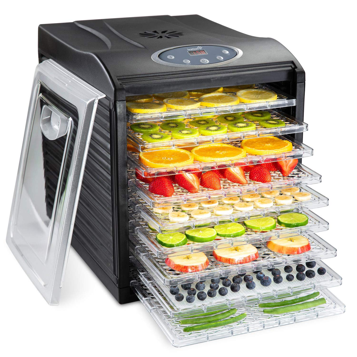 Ivation 9 Tray Premium Electric Food Dehydrator Machine - 600w - Digital Timer & Temperature Control with Auto Shutoff - 95ºF to 158ºF for Drying Beef Jerky, Fruits, Vegetables & Nuts, BPA Free by Ivation