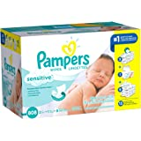 Pampers Sensitive Wipes Pop-Top Packs (1 Tub, 9 Refills, 3 Flip-Top Travel Packs, Pampers Sensitive)
