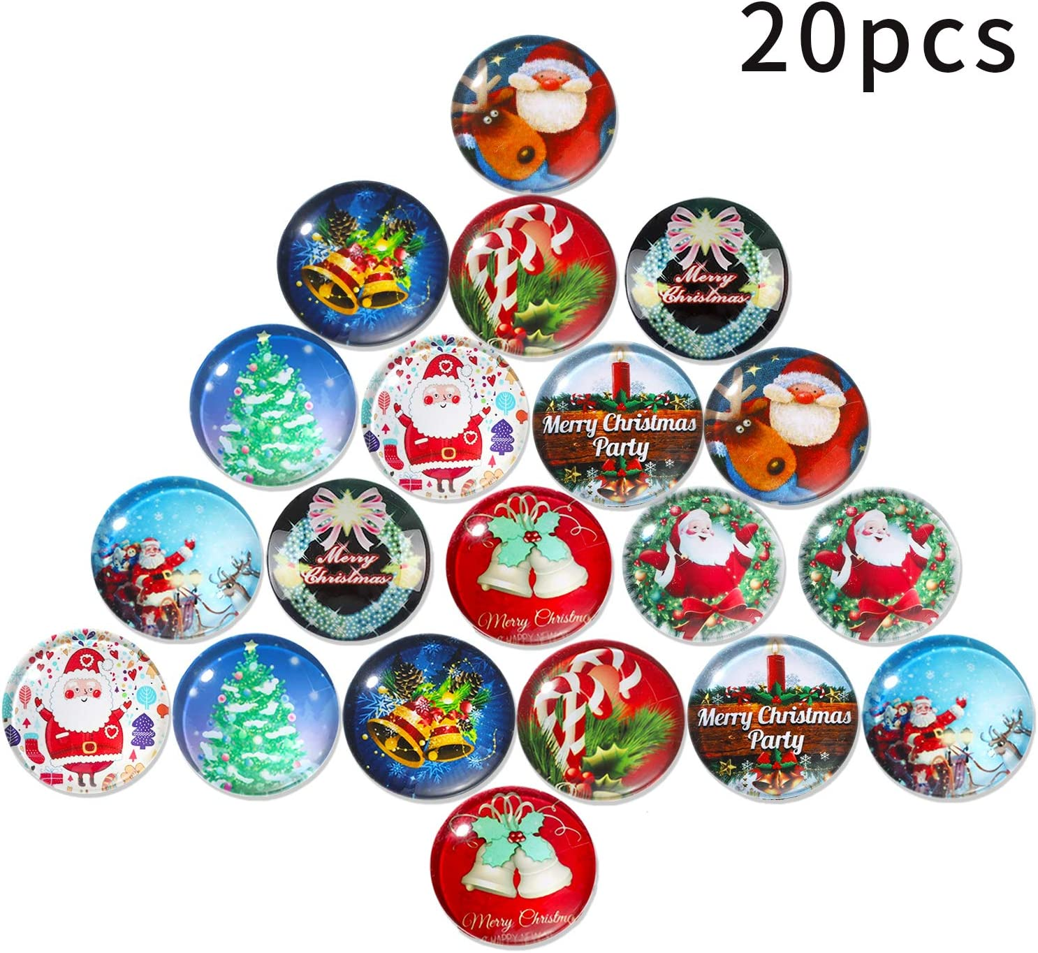 20 Pieces Christmas Magnets Glass Refrigerator Magnets 3D Decorative Glass Fridge Magnets with Christmas Patterns for Map, Whiteboard and Refrigerator, 1.18 Inch
