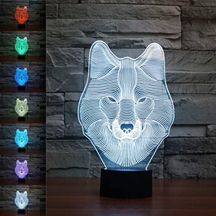 Amazon.com: SUPERNIUDB Animal Wolf Decor 3D Night Light Table Desk ...