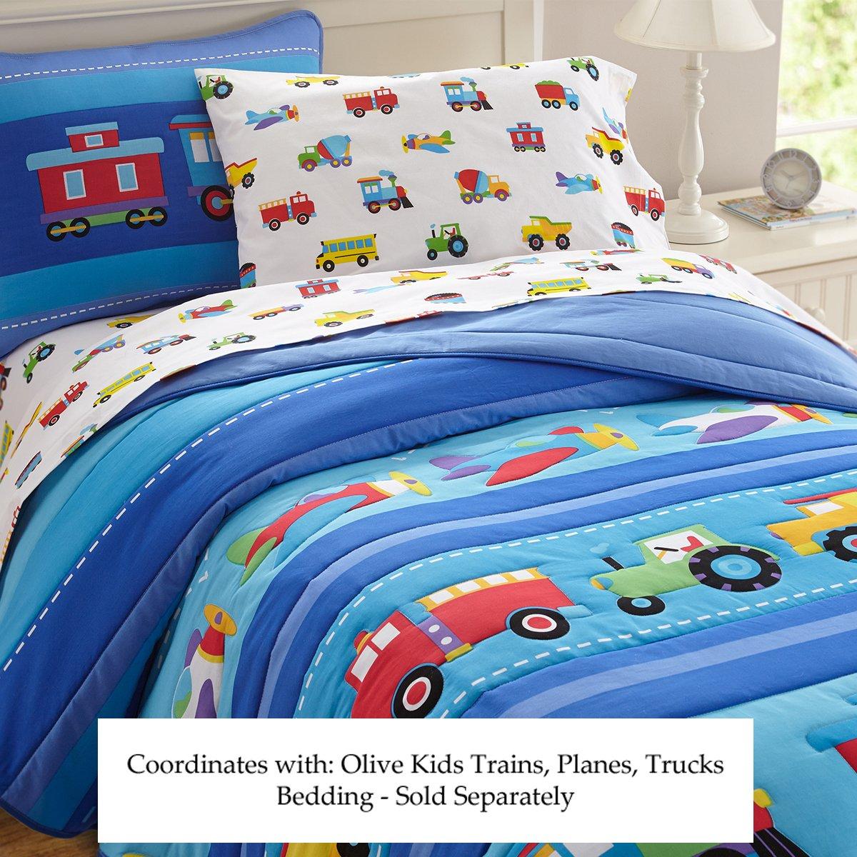 Amazon.com: Olive Kids Trains, Planes, Trucks Toy Box Bench: Toys & Games