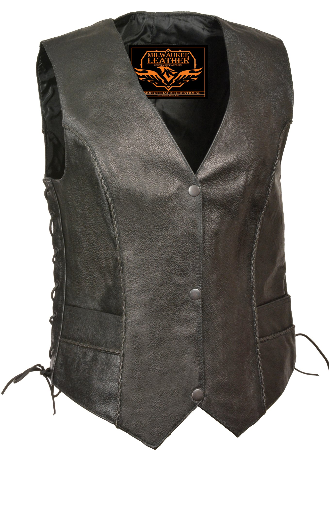 Milwaukee Women's Braided Leather Snap Front Vest (Black, 5X-Large)