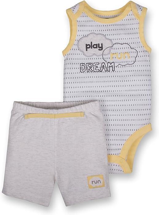 464e8f943 Lamaze Organic Baby Baby Organic 2 Piece Bodysuit and Short Set, Gray, 12M