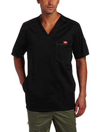 75744879a28 Dickies Men's Generation Flex Utility Scrubs V-Neck Shirt, Black, X-Small