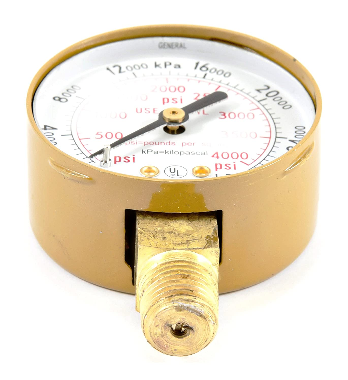 Forney 87727 Oxygen Gauge 2-Inch by 1//4-Inch NPT High Pressure 0-4000 PSI
