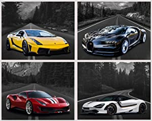 Car Poster Lamborghini Mclaren Ferrari Bugatti Sports Posters Car Wall Art Supercar Decor for Boys Room Bedroom Set of 4 Unframed (8x10 in) Black and White Highway Supercars Pictures