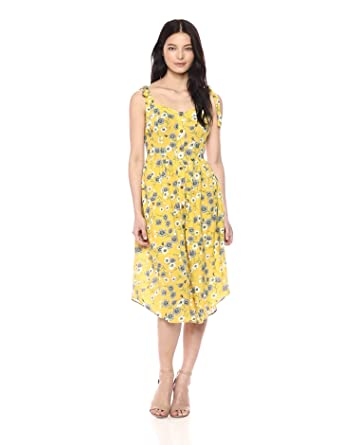 bdc9f70bfc69 MOON RIVER Women's Button Front FIT & Flare Casual Floral MIDI Dress,  Yellow, ...
