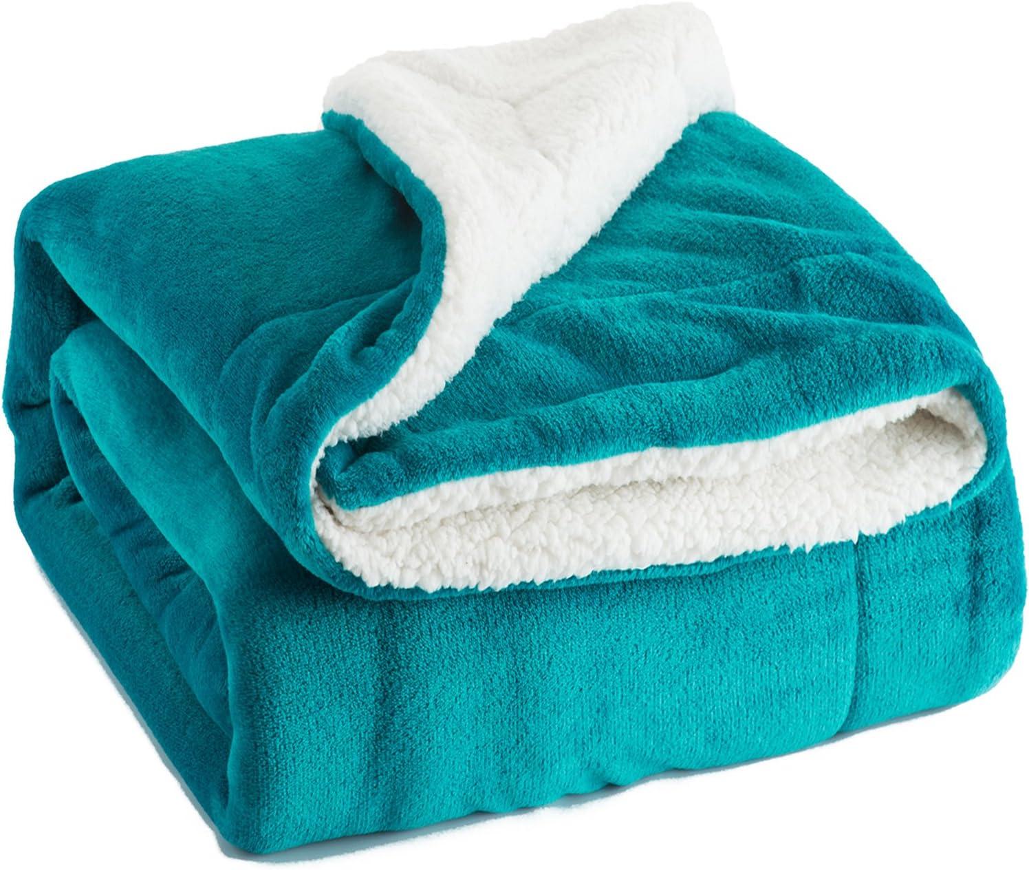 Bedsure Sherpa Fleece Blanket Queen Size Teal Turquoise Aqua Plush Blanket Fuzzy Soft Blanket Microfiber