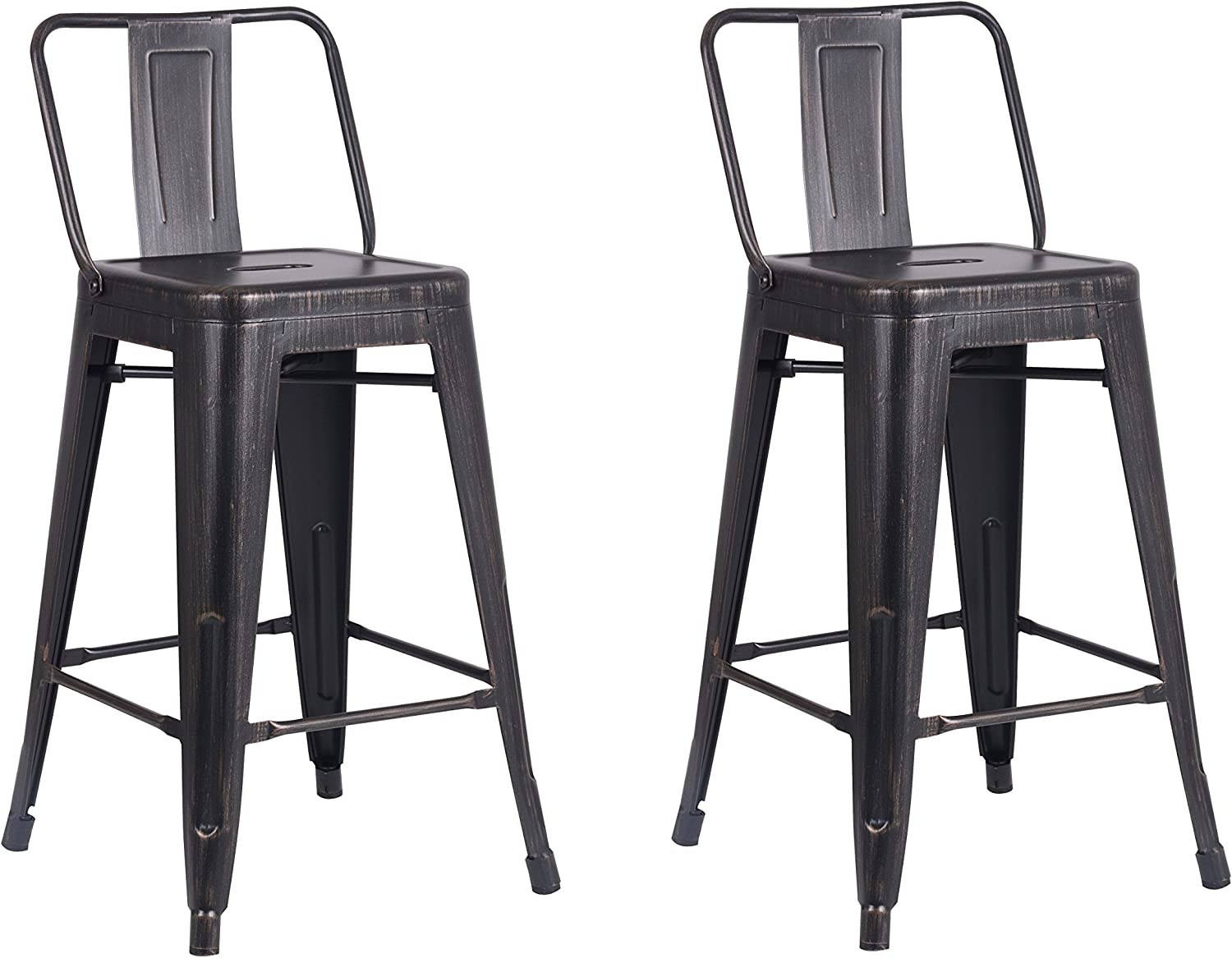Christies Home Living Modern Light Weight Industrial Contemporary Rustic Vintage Costal Metal Barstools with Bucket Back and 4 Leg Design, (Set of 2) (24