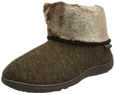 Isotoner Fine Knit Boot Slippers, Zapatillas Altas Para Mujer, Marrón (Brown), 38 EU