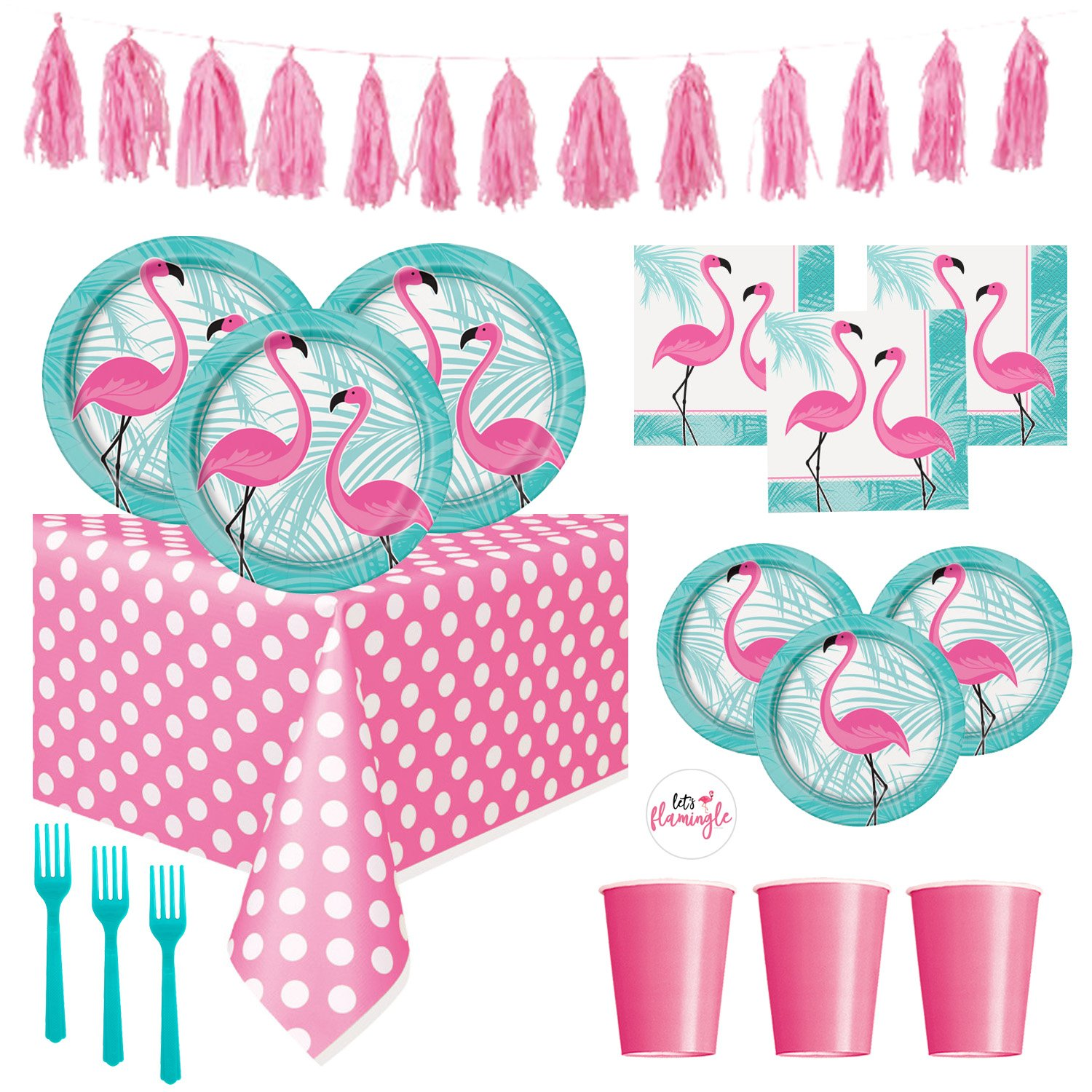 FLAMINGO Theme Party Supplies Pack - Bright Color Plates, Cups, Napkins and Decorations for Pool Party or Luau (Deluxe - Serves 16) by FLAMINGO
