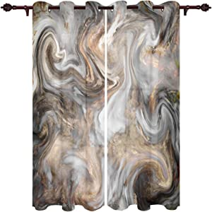 T&H Home Marble Curtains Set, Abstract Crack Marble Pattern Window Curtain, 2 Panels Curtain for Sliding Glass Door Bedroom Living Room, 104