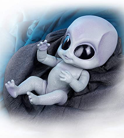 Grey Alien Reborn Doll 14in Full Body Vinyl Reborn Baby Dolls Newborn Alien Baby
