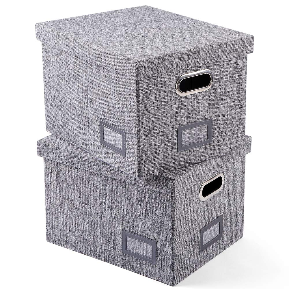SUPERJARE Collapsible File Box, Storage Office Box Organizer with Handles and Removable Lid for Letter/Legal, MDF Board & Grey Linen Fabric, Set of 2