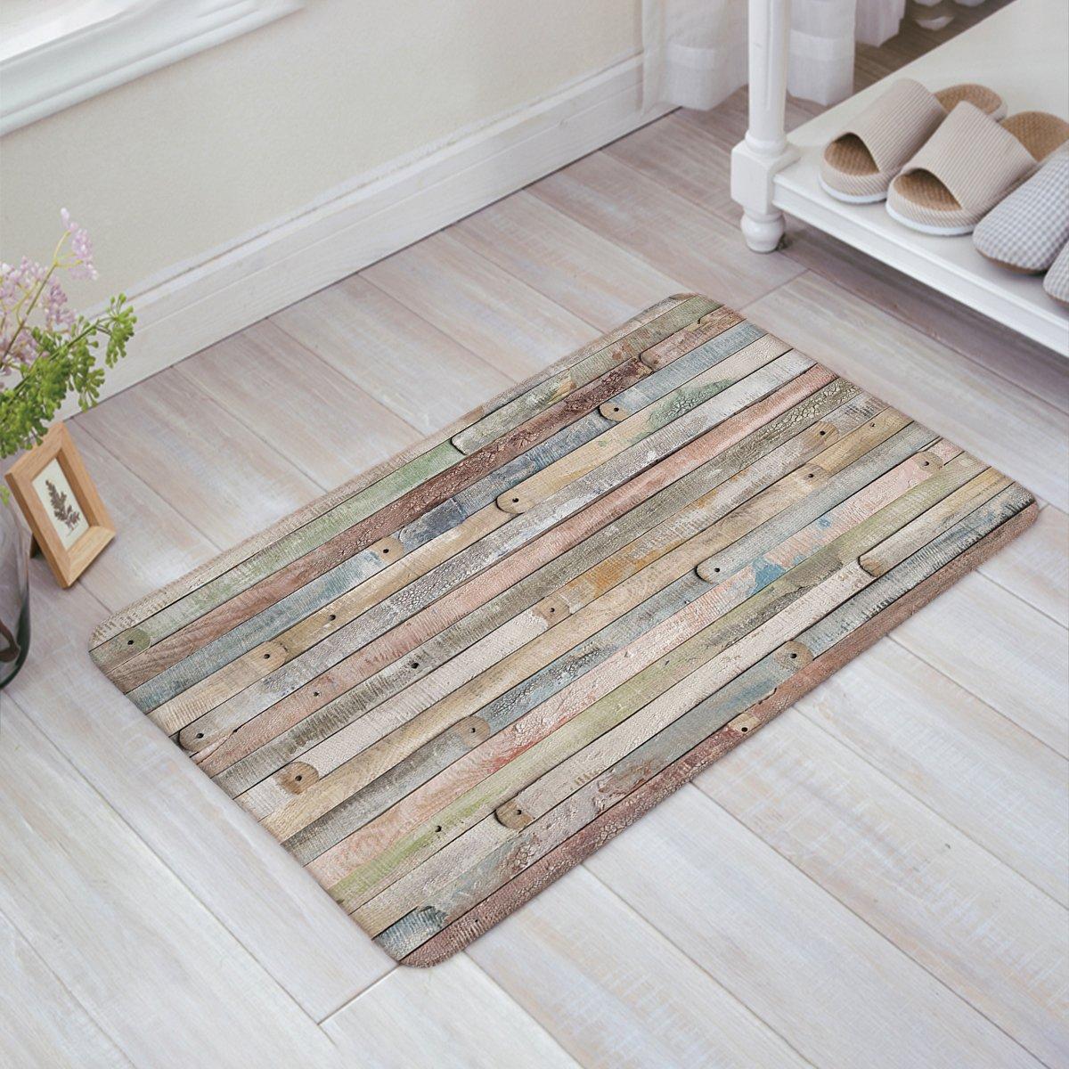 Funny Waterproof Bathroom Doormat Home Decor Welcome Mat Entrance Way Indoor/Outdoor Carpet Toilet Floor Area Rugs, Rustic Old Barn Wood Decorative - 23.6x15.7 Inch