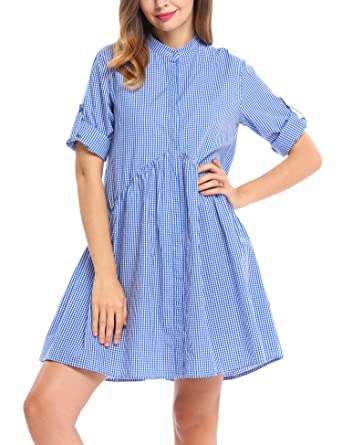 10ec0e8f46c ACEVOG Women s Long Sleeve Plaid Button Down A-Line Shirt Dress at ...