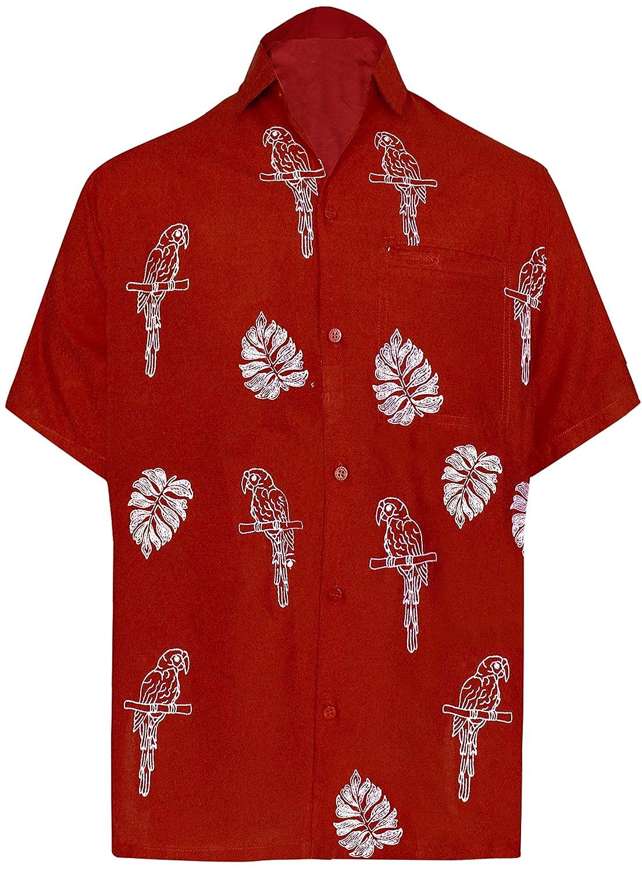 TALLA XS - Pecho Contorno (in cms) : 91 - 96. LA LEELA Manga Corta botón Abajo Camisa Hawaiana Las Hombres