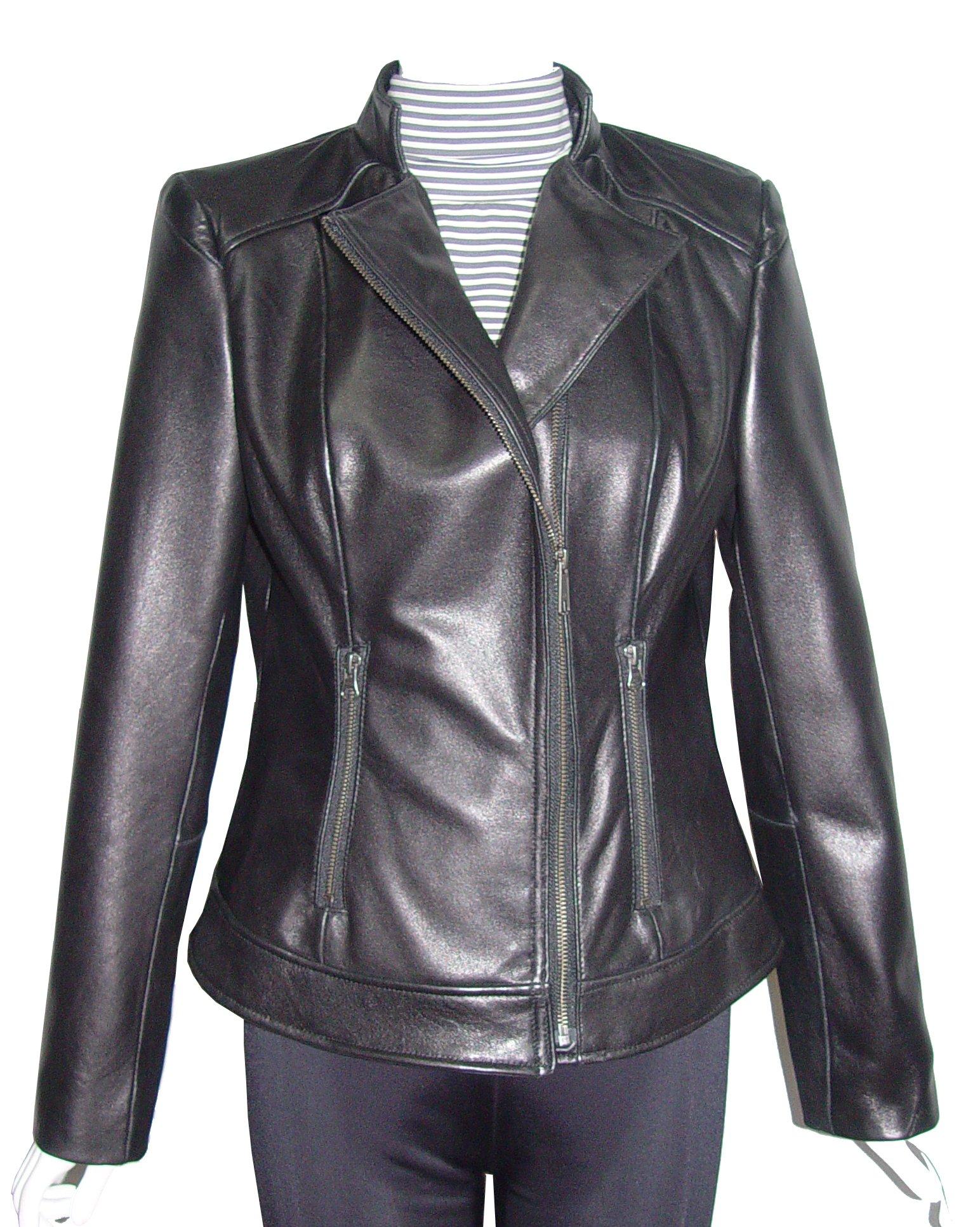Nettailor 4064 Leather Clean Biker Jackets Womens Genuine Soft Lamb