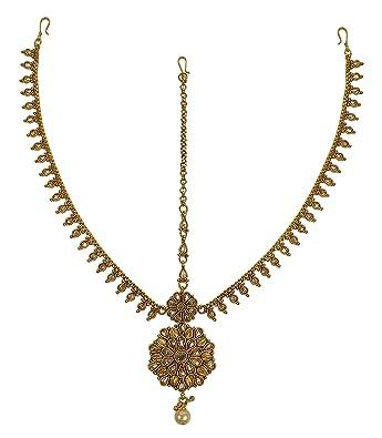 Headpiece Hair Indian Costume Jewellery Matha Patti Scarf Gold Navy Blue Hijab Hair & Head Jewelry