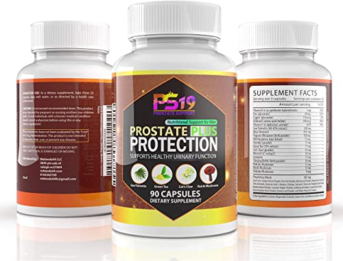 PS19 Prostate Support Plus 90 Capsules Saw Palmetto, Pumpkin Seed Powder, Lycopene, Green Tea Cats Claw, reishi Mushroom Key Nutrients to Support Prostate Health and Urinary, Bladder Function