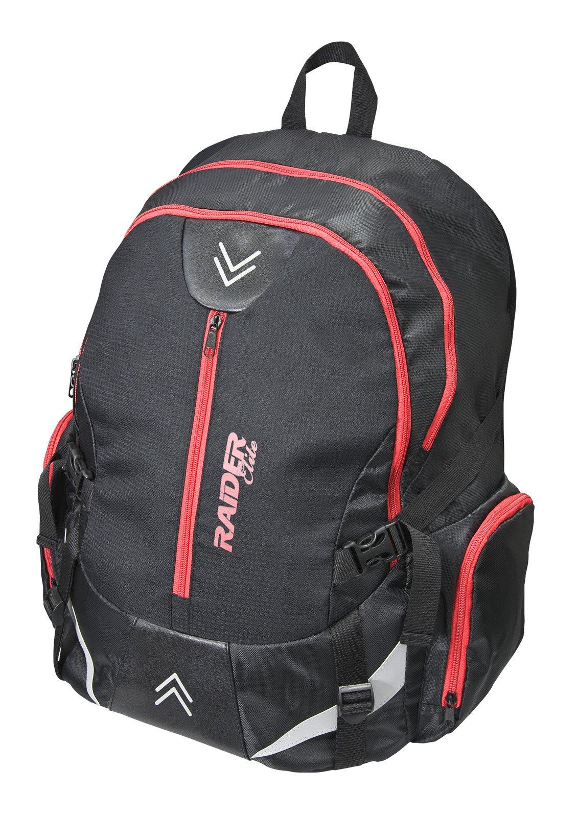 Raider Elite Helmet Storage Motorcycle Backpack (Black/Red)