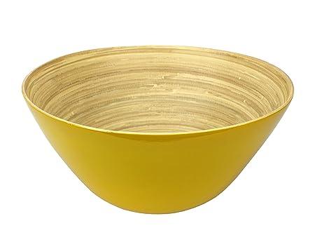 Bamboo Lacquerware Fruit Bowl, Large 30cm diameter, Yellow: Amazon ...