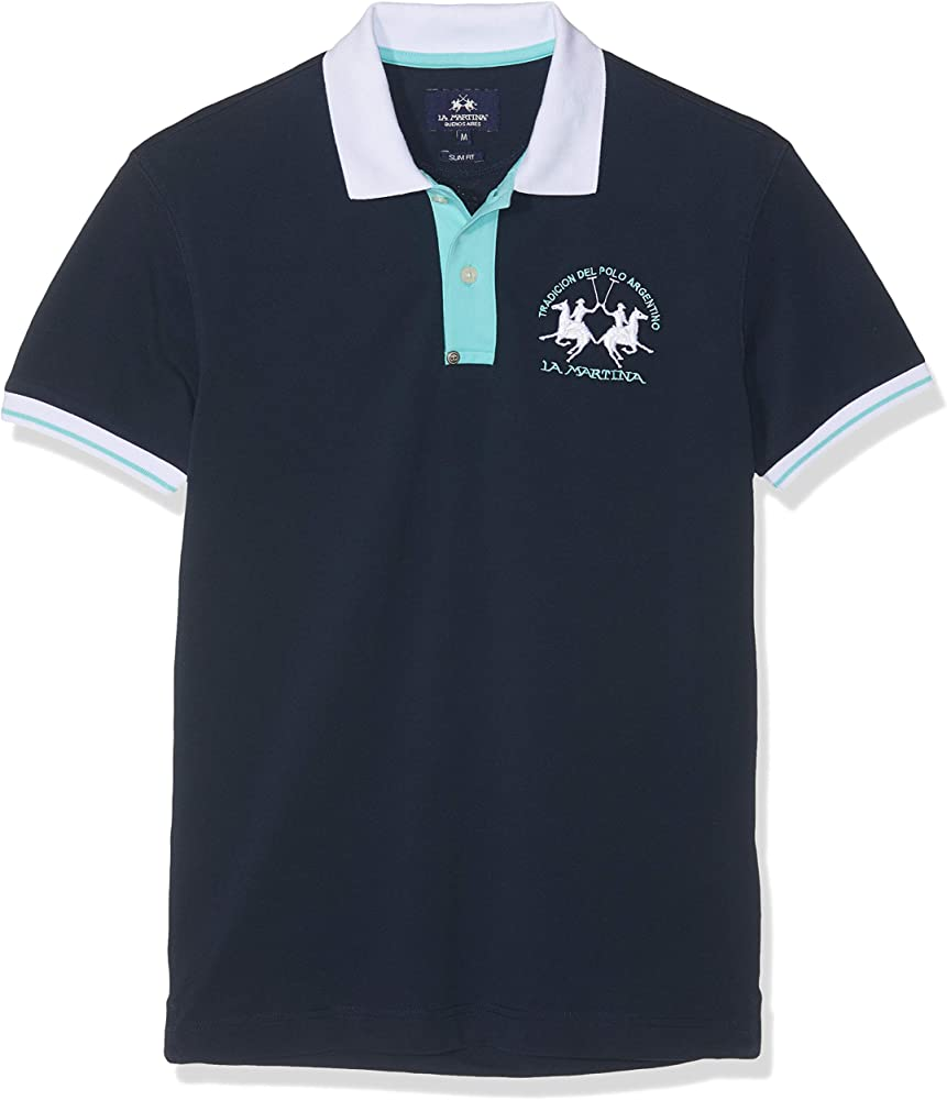 La Martina Man Polo S/s Piquet Stretch, Azul (Navy 07017), Medium ...
