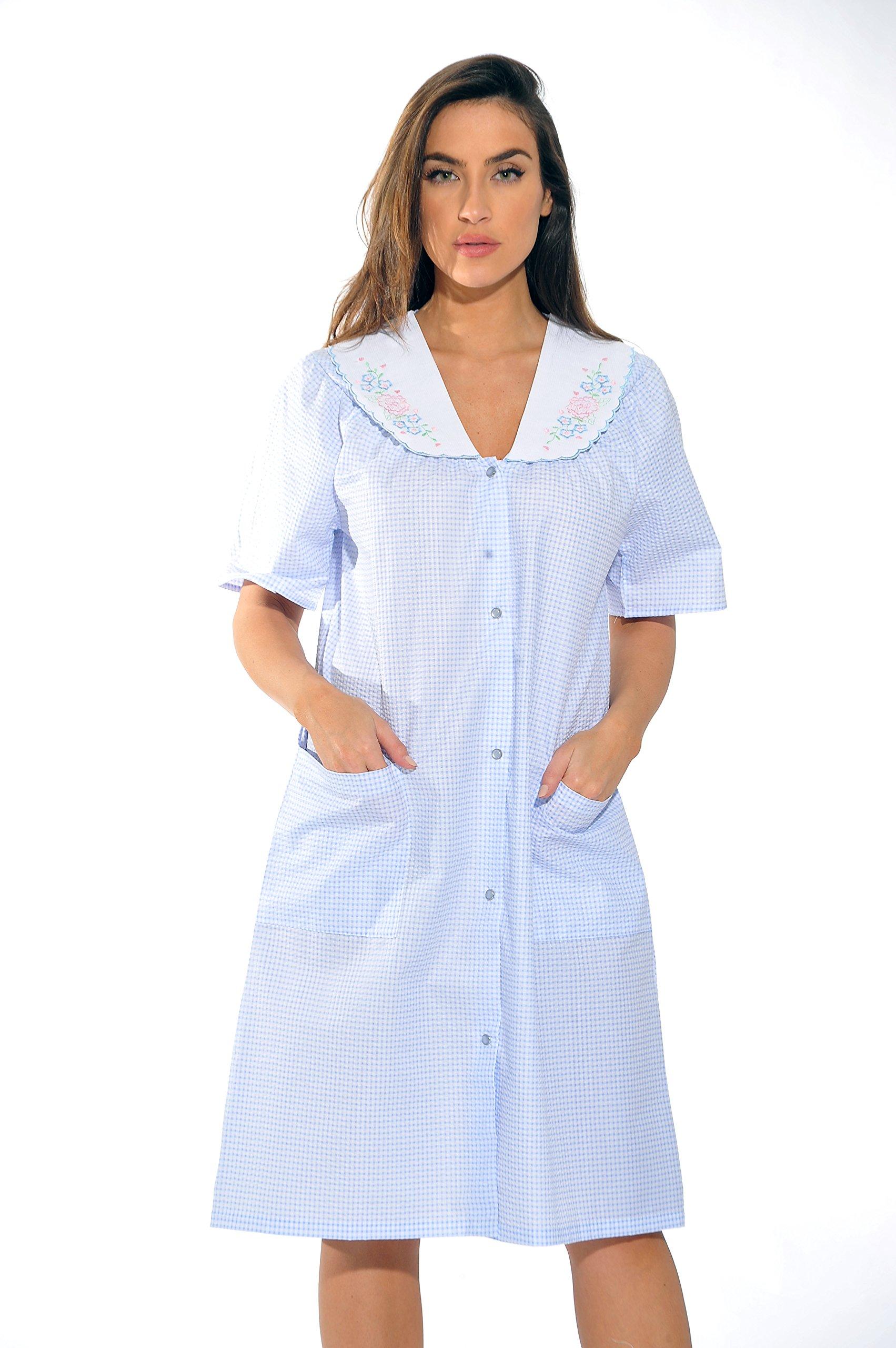 Dream Crest 8511-Blue-3X Dreamcrest Short Sleeve Duster/Housecoat/Women Sleepwear