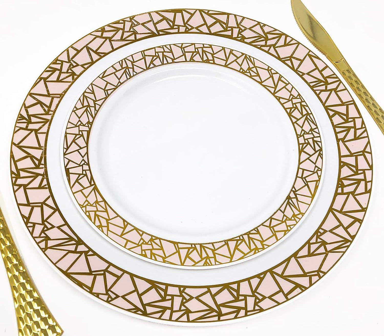 Premium All Occasion Plastic Dinner Plate Set Decorline 32 Pieces Plastic Party Plates Set Silver Thick /& Durable Dinner Plates Fancy Mosaic Collection